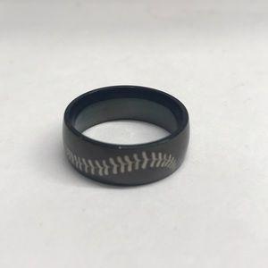Black Baseball Stitching Ring titanium